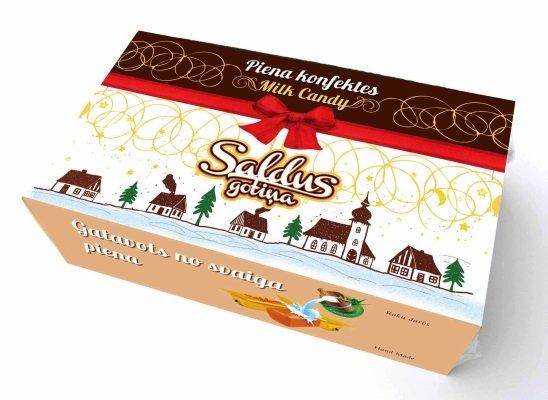 """Klasiskās """"Piena gotiņas"""" konfektes svētku iesaiņojumā (300 gr.)"""